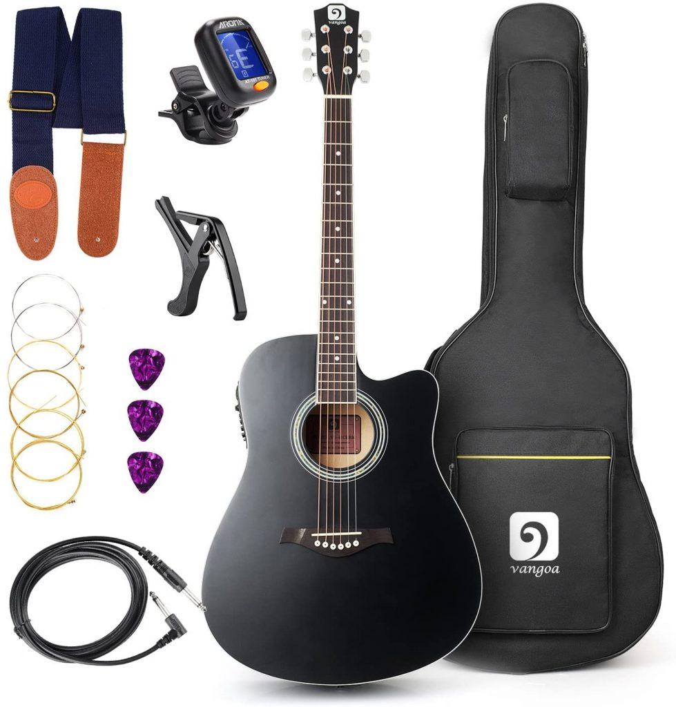 Guitarra Electroacústica Con Kit Para Principiantes, Negro