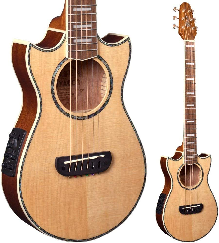 Guitarra de viaje Lindo Voyager SE, electroacústica, de abeto, con preamplificador de mezcla BS3M y sintonizador LCD acolchado