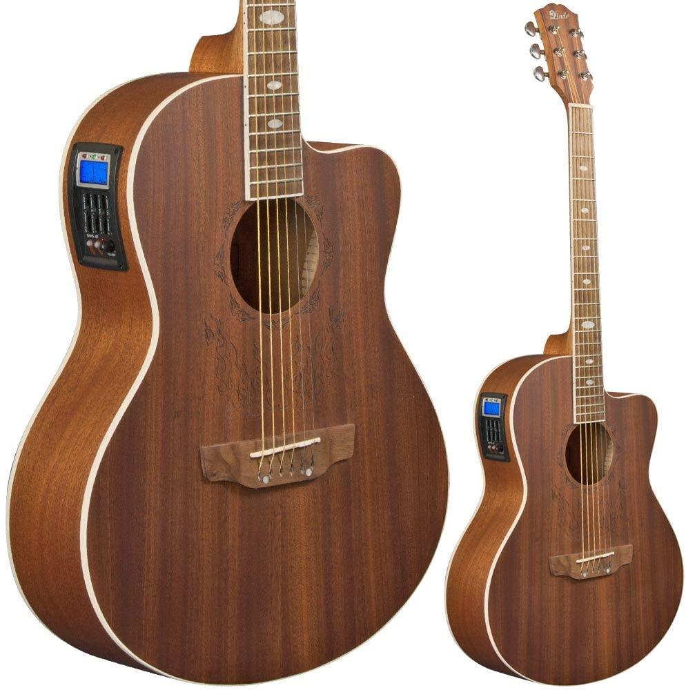 Lindo Feeling - Guitarra electroacústica (con preamplificador, afinador digital, conector XLR/conectores hembra y funda para guitarra