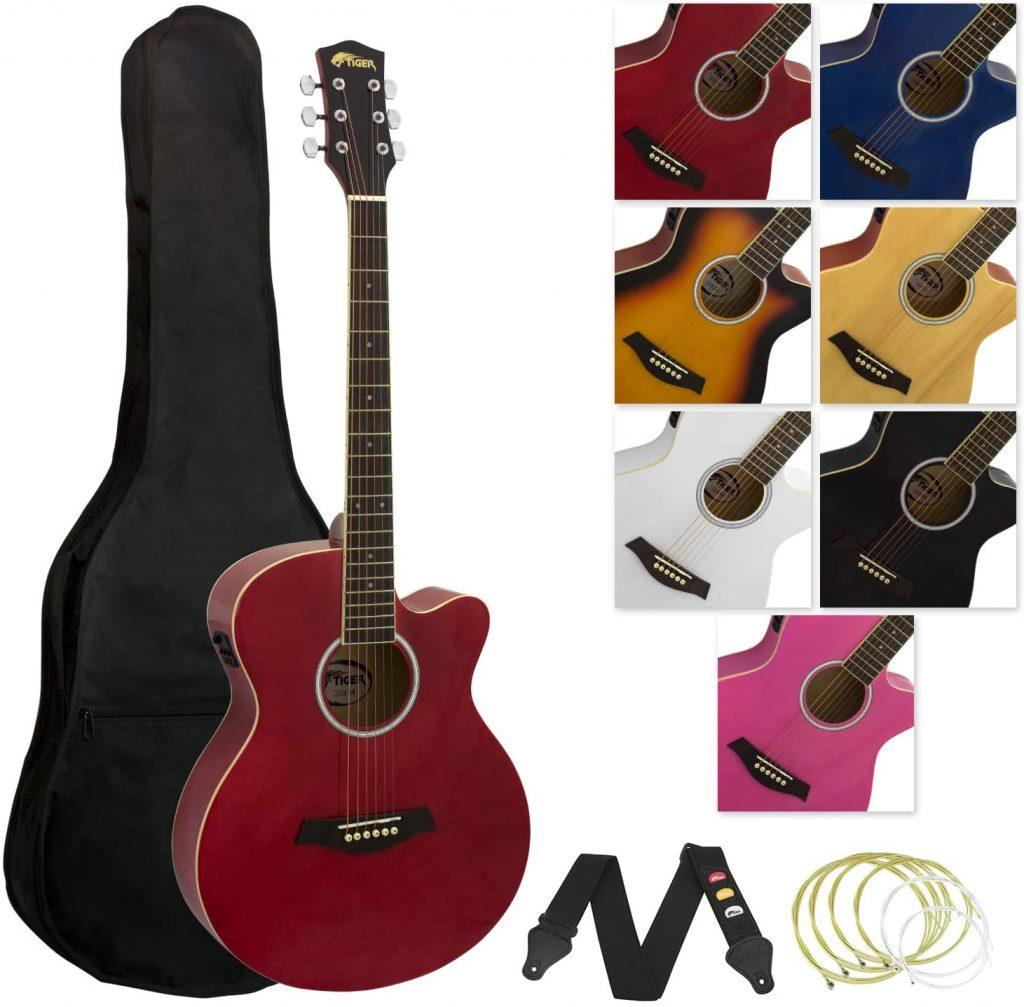 Tiger - Guitarra electroacústica con accesorios